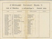 BYFLEET CRICKET CLUB 1903 (FIXTURE CARD)