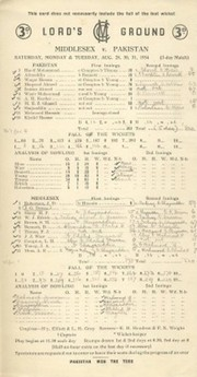 MIDDLESEX V PAKISTAN 1954 CRICKET SCORECARD