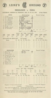 MIDDLESEX V INDIA 1952 CRICKET SCORECARD