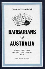 BARBARIANS V AUSTRALIA 1958 RUGBY PROGRAMME