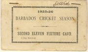 BARBADOS CRICKET SEASON 1925-26 (2ND XI FIXTURE CARD)