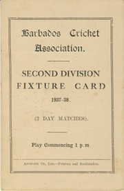 BARBADOS CRICKET SEASON 1937-38 (2ND DIVISION FIXTURE CARD)