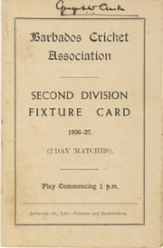 BARBADOS CRICKET SEASON 1936-37 (2ND DIVISION FIXTURE CARD)