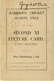 BARBADOS CRICKET SEASON 1934 (2ND XI FIXTURE CARD)
