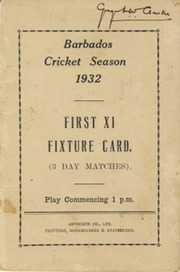 BARBADOS CRICKET SEASON 1932 (FIXTURE CARD)