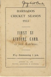 BARBADOS CRICKET SEASON 1933 (FIXTURE CARD)