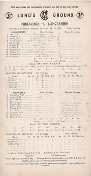 MIDDLESEX V LANCASHIRE 1955 CRICKET SCORECARD