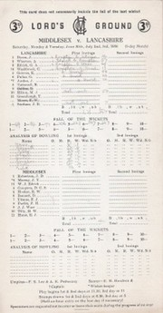 MIDDLESEX V LANCASHIRE 1956 CRICKET SCORECARD