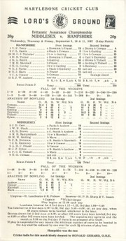 MIDDLESEX V HAMPSHIRE 1987 CRICKET SCORECARD