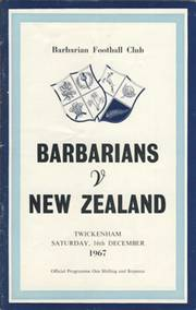 BARBARIANS V NEW ZEALAND 1967 RUGBY PROGRAMME