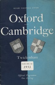 OXFORD V CAMBRIDGE 1953 RUGBY PROGRAMME