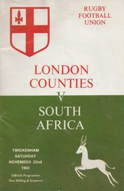 LONDON COUNTIES V SOUTH AFRICA 1969 RUGBY PROGRAMME