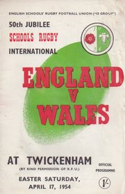 ENGLAND V WALES 1954 (SCHOOLS RUGBY)