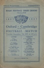 OXFORD V CAMBRIDGE 1937 RUGBY PROGRAMME