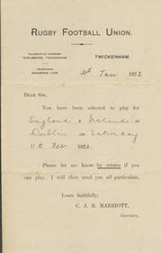 J.E. MAXWELL-HISLOP (ENGLAND SELECTION LETTER) 1922