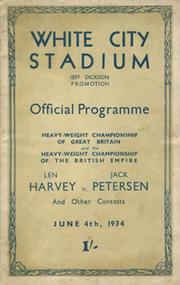 LEN HARVEY V JACK PETERSEN 1934 BOXING PROGRAMME