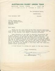 1957-58 WALLABIES SIGNED LETTERS: MCCLENAUGHAN, T.H. (AUSTRALIA)