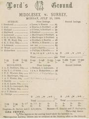 MIDDLESEX V SURREY 1896 CRICKET SCORECARD