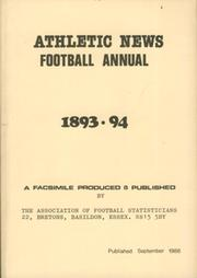 ATHLETIC NEWS FOOTBALL ANNUAL 1893-94 (FACSIMILE EDITION)