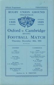 OXFORD V CAMBRIDGE 1925 RUGBY PROGRAMME