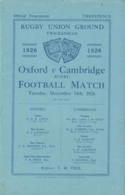 OXFORD V CAMBRIDGE 1926 RUGBY PROGRAMME