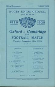 OXFORD V CAMBRIDGE 1928 RUGBY PROGRAMME