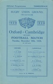 OXFORD V CAMBRIDGE 1929 RUGBY PROGRAMME