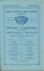 OXFORD V CAMBRIDGE 1933 RUGBY PROGRAMME