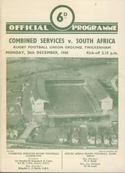 COMBINED SERVICES V SOUTH AFRICA 1960 RUGBY PROGRAMME