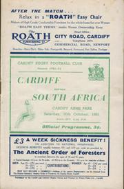 CARDIFF V SOUTH AFRICA 1951/52 RUGBY PROGRAMME
