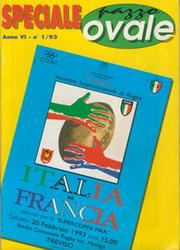 ITALY V FRANCE 1993 RUGBY PROGRAMME