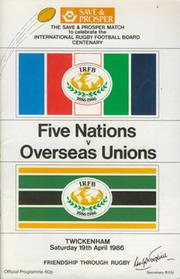FIVE NATIONS V OVERSEAS UNIONS 1986 RUGBY PROGRAMME