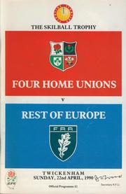 FOUR HOME UNIONS V REST OF EUROPE 1990 RUGBY PROGRAMME