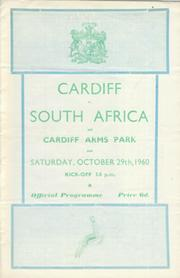 CARDIFF V SOUTH AFRICA 1960 RUGBY PROGRAMME
