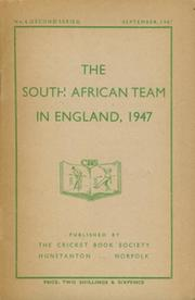 THE SOUTH AFRICAN TEAM IN ENGLAND, 1947
