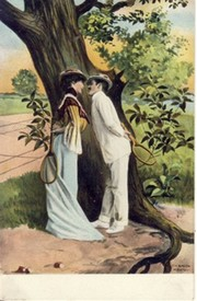 TENNIS COUPLE COURTING UNDER A TREE WITH RACQUETS IN HAND