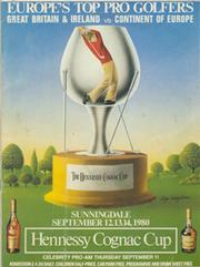 HENNESSY COGNAC CUP 1980 (SUNNINGDALE) GOLF PROGRAMME - SIGNED BY BALLESTEROS, LANGER, LYLE ETC.