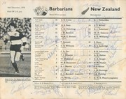 BARBARIANS V NEW ZEALAND 1978 SIGNED RUGBY PROGRAMME