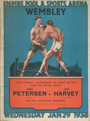 JACK PETERSEN V LEN HARVEY 1936 BOXING PROGRAMME