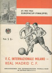 INTER MILAN V REAL MADRID 1964 (EUROPEAN CUP FINAL) FOOTBALL PROGRAMME