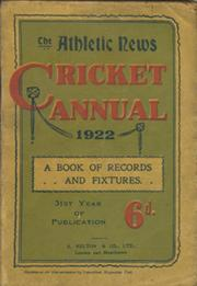 ATHLETIC NEWS CRICKET ANNUAL 1922