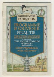BOLTON WANDERERS V WEST HAM UNITED 1923 (F.A. CUP FINAL) FOOTBALL PROGRAMME