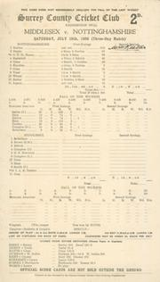MIDDLESEX V NOTTINGHAMSHIRE 1939 (KEETON 312*) CRICKET SCORECARD - SIGNED BY KEETON