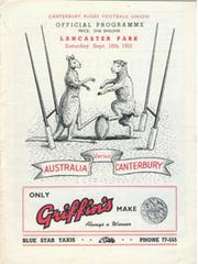 CANTERBURY V AUSTRALIA 1955 RUGBY PROGRAMME