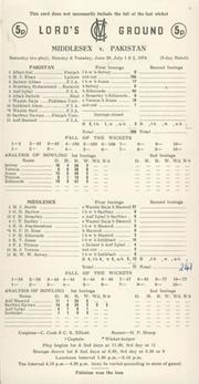 MIDDLESEX V PAKISTAN 1974 CRICKET SCORECARD