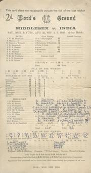 MIDDLESEX V INDIA 1946 CRICKET SCORECARD