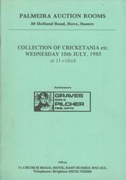 COLLECTION OF CRICKETANA 1985 - PALMEIRA AUCTION ROOMS (SUSSEX) AUCTION CATALOGUE