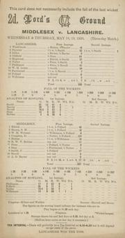 MIDDLESEX V LANCASHIRE 1938 CRICKET SCORECARD