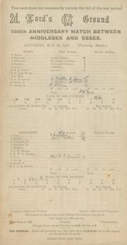 MIDDLESEX V ESSEX 1937 CRICKET SCORECARD