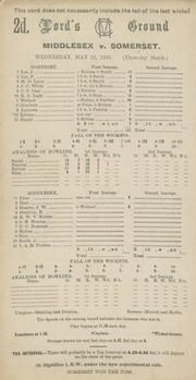 MIDDLESEX V SOMERSET 1935 CRICKET SCORECARD